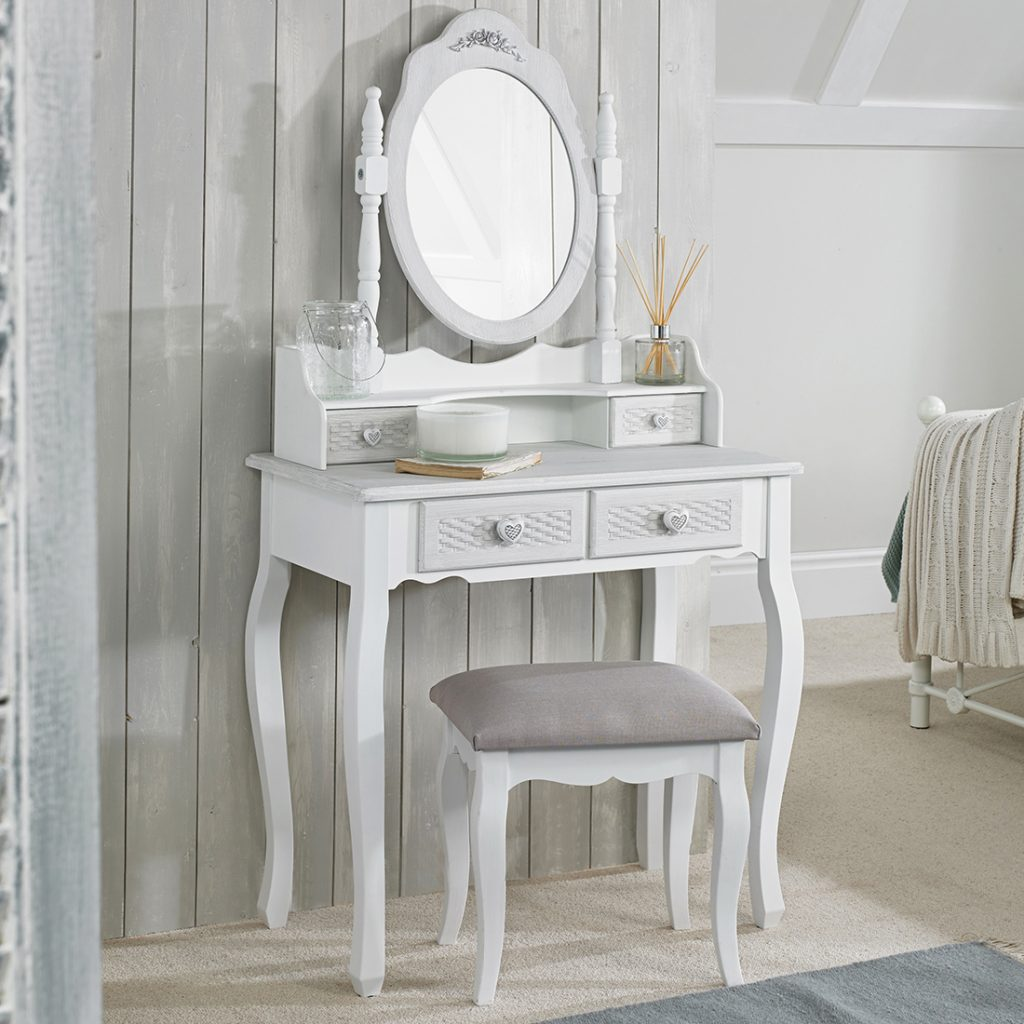 Brittany Dressing Table Mirror White Grey Browns Furniture