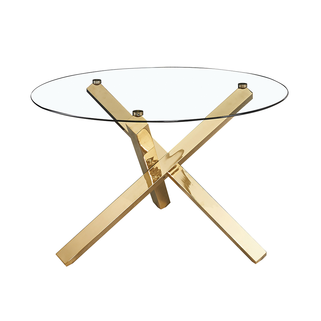 Capri Dining Table Glass Top With Gold Legs Browns Furniture