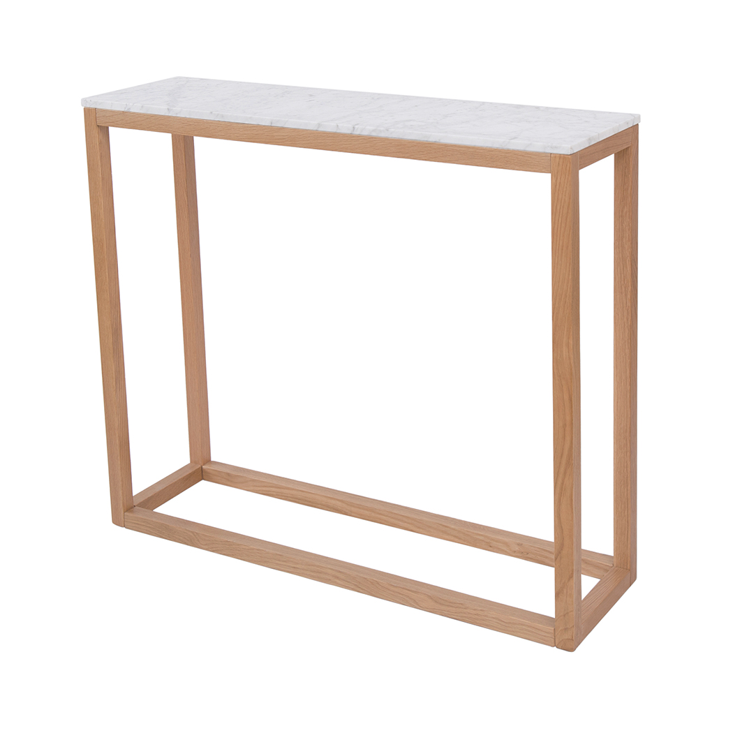 Console Table Oak White Marble Top